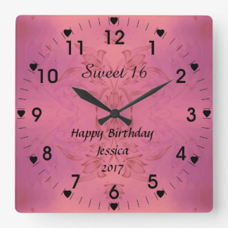Sweet 16 Pink Floral Square Wall Clock