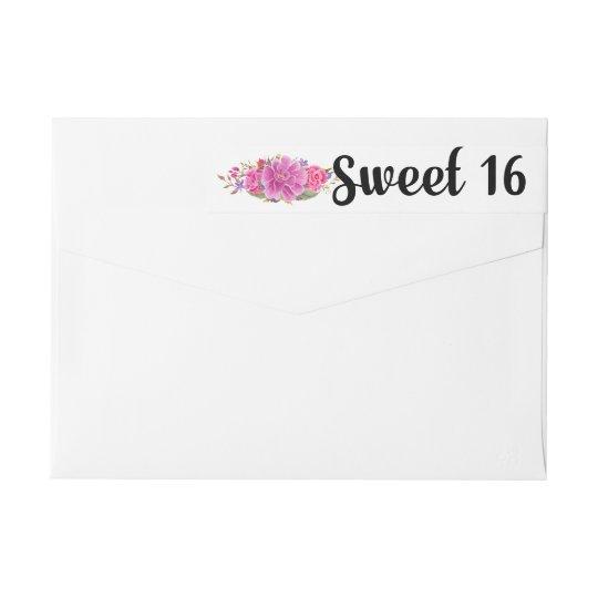 Sweet 16 Pink Floral Wrap Return Address Labels