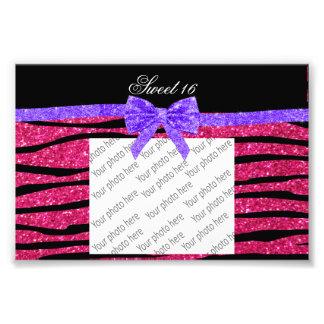 Sweet 16 pink glitter zebra stripes art photo