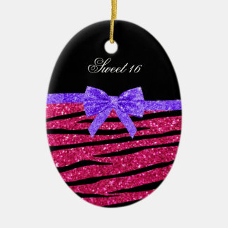 Sweet 16 pink glitter zebra stripes ceramic oval decoration