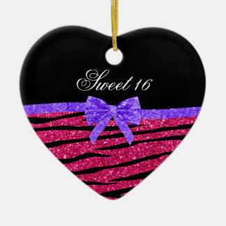 Sweet 16 pink glitter zebra stripes christmas ornament