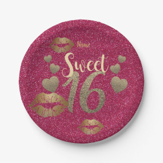 Sweet 16 Pink GOLD Glitter Lips Personalized Paper Plate
