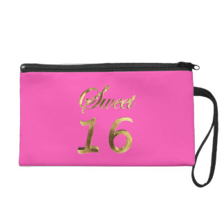 Sweet 16 Pink Gold Look Typography Elegant Wristlet Purses