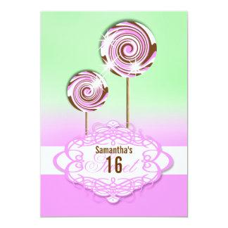 Sweet 16 pink green sixteenth 13 cm x 18 cm invitation card