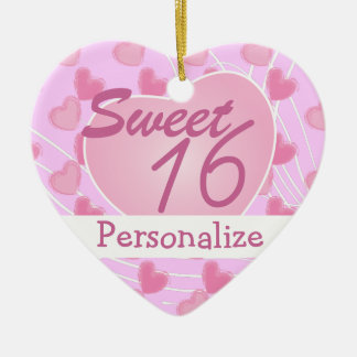 Sweet 16 Pink Heart Christmas Ornament