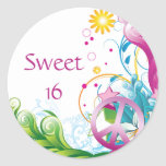 Sweet 16 Pink Peace Sign Tropical Floral Birthday Round Sticker