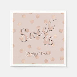 Sweet 16 Pink Rose Gold Confetti | Sweet Sixteen Disposable Napkins