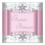 Sweet 16 Pink Silver White Diamond Image Party Personalised Invitations