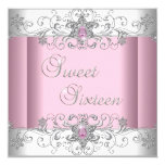Sweet 16 Pink Silver White Diamond Image Party 13 Cm X 13 Cm Square Invitation Card