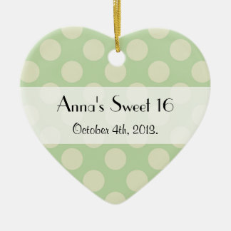 Sweet 16 - Polka Dots, Dotted Pattern - Green Christmas Ornament