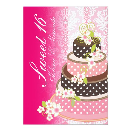 Sweet 16/ princess/4-tier pink chocolate cake card
