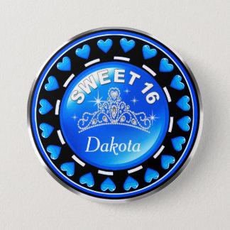 Sweet 16 Princess Tiara Love Hearts | blue 7.5 Cm Round Badge
