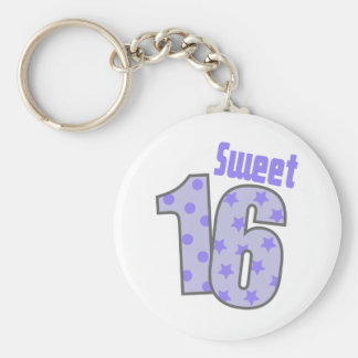 Sweet 16 (Purple Dots And Stars) Basic Round Button Key Ring