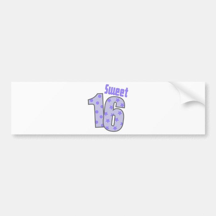Sweet 16 (Purple Dots And Stars) Bumper Sticker