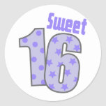 Sweet 16 (Purple Dots And Stars) Round Stickers