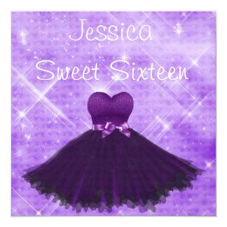 Sweet 16 Purple Dress Silver Glitter Birthday 13 Cm X 13 Cm Square Invitation Card