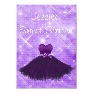 Sweet 16 Purple Dress Silver Glitter Birthday 13 Cm X 18 Cm Invitation Card