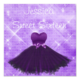 Sweet 16 Purple Dress Silver Glitter Birthday Card