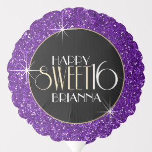 Sweet 16 Purple Glitter Personalized Birthday Balloon