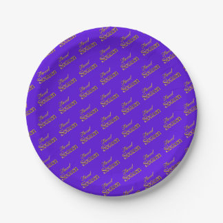 Sweet 16 Purple Gold Typography Pattern Elegant 7 Inch Paper Plate