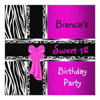 Sweet 16 Purple Pink Silver Black Zebra Leopard 13 Cm X 13 Cm Square Invitation Card