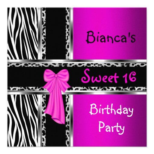 Sweet 16 Purple Pink Silver Black Zebra Leopard Announcements