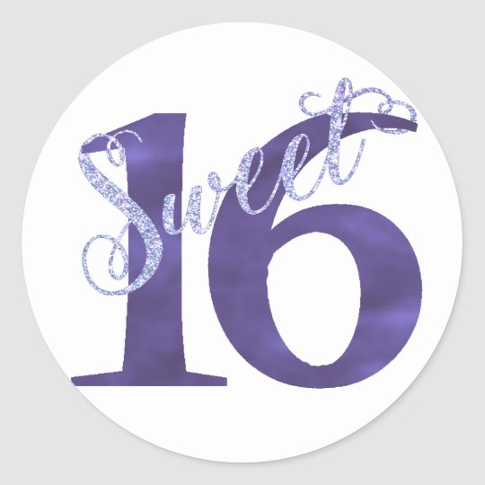 Sweet 16 Purple | Watercolor 16th Birthday Party Classic Round Sticker