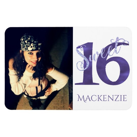 Sweet 16 Purple | Watercolor 16th Birthday Party Magnet