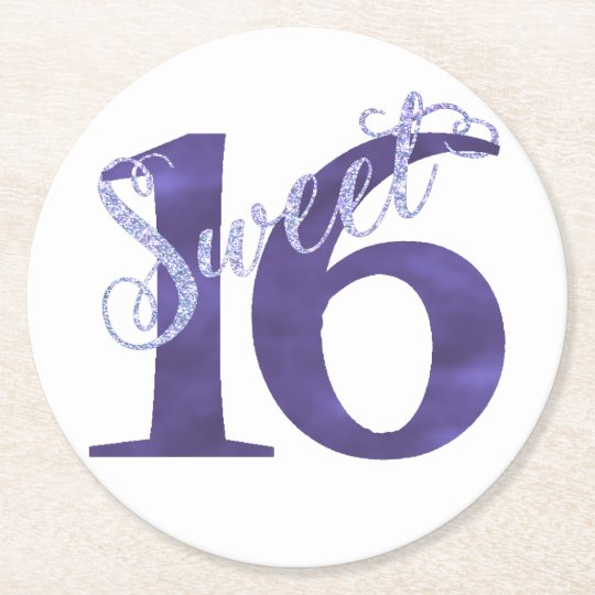 Sweet 16 Purple   Watercolor 16th Birthday Party Round Paper Coaster