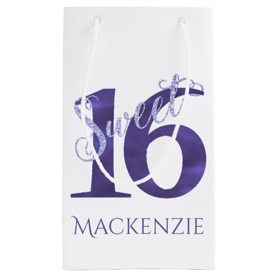 Sweet 16 Purple   Watercolor 16th Birthday Party Small Gift Bag