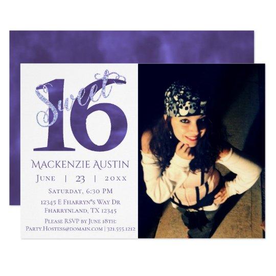 Sweet 16 Purple | Watercolor Violet 16th Birthday Card