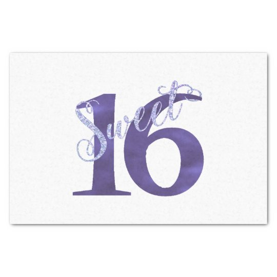Sweet 16 Purple   Watercolor Violet 16th Birthday Tissue Paper