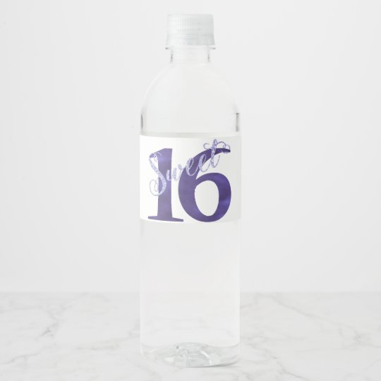 Sweet 16 Purple | Watercolor Violet 16th Birthday Water Bottle Label