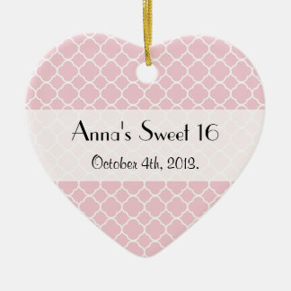 Sweet 16 - Quatrefoil Shape - Pink White Christmas Ornament