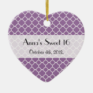 Sweet 16 - Quatrefoil Shape - Purple White Christmas Ornament