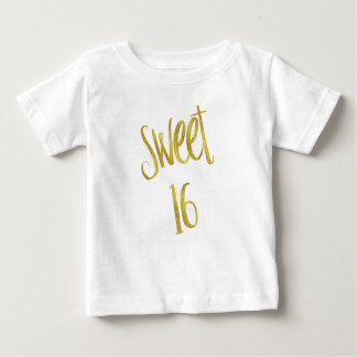 Sweet 16 Quote Faux Gold Glitter Background Baby T-Shirt