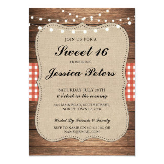 Sweet 16 Red Check Lights Rustic Wood Invitation