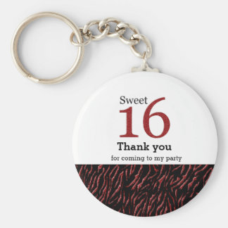 Sweet 16 red glitter basic round button key ring