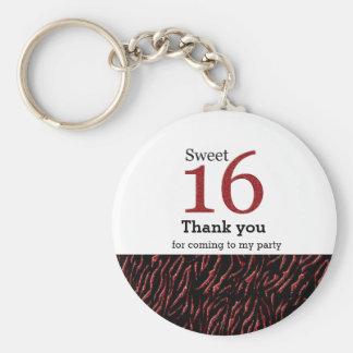 Sweet 16 red glitter key ring