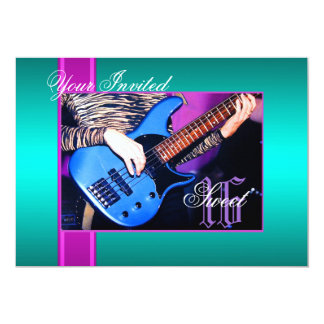 Sweet 16 Rock Guitar Teal Party Invitation