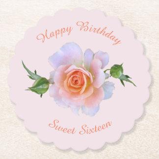 Sweet 16  Rose Birthday Paper Coaster