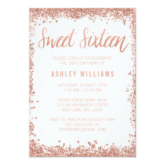 Sweet 16 Rose Gold Faux Glitter Birthday Party Card