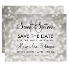 Sweet 16 Save The Date Silver Glitter Lights Card