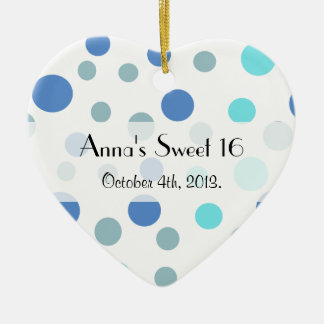 Sweet 16 - Seamless Dots, Spots - Blue Christmas Ornament
