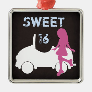 Sweet 16 Silhouette Girl and Car ~ Pink and Blue Silver-Colored Square Decoration