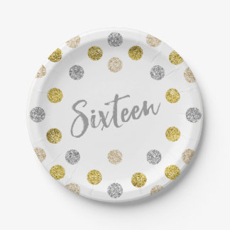 Sweet 16 Silver and Gold Glitter Custom Paper Plate