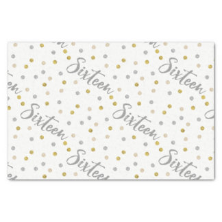 Sweet 16 Silver and Gold Glitter Custom Tissue Paper