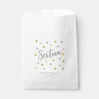 Sweet 16 Silver and Gold Glitter Custom Treat Bag