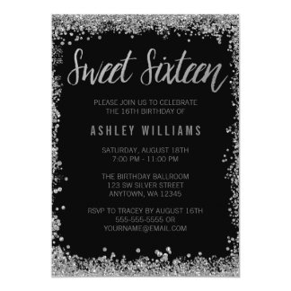 Sweet 16 Silver Black Faux Glitter Birthday Card