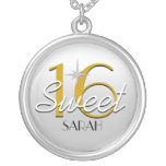 Sweet 16 Silver/Gold Sparkle Personalised Necklace